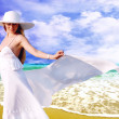 Young beautiful women in the white with pareo on the sunny tropi — Stok fotoğraf