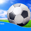 Ball on the field of stadium with blue sky and sample text — Photo