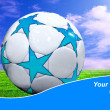 Ball on the field of stadium with blue sky and sample text — Stock Photo #6356674