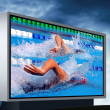 Swimming waterpool on the electronic monitor — Stockfoto