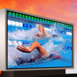 Swimming waterpool on the electronic monitor — Stock Photo
