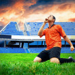 Happiness football player after goal on the field of stadium und — Lizenzfreies Foto
