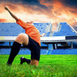 Happiness football player after goal on the field of stadium und — Foto de Stock