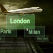 Airports citys on the button and plane — Stock Photo