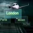 Airports citys on the button and plane — Stockfoto