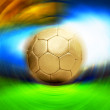 Soccer ball on the blur stadium background — Foto Stock