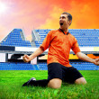 Stock Photo: Happiness football player after goal on field of stadium und