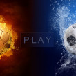 Stock Photo: Water drops and fire flames around soccer ball on background
