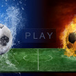 Water drops and fire flames around soccer ball on the background — Stock Photo