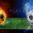 Water drops and fire flames around soccer ball on the background — Stock Photo #6357811