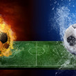 Water drops and fire flames around soccer ball on the background — Stock Photo #6357814
