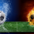 Water drops and fire flames around soccer ball on the background — Stock Photo #6357815