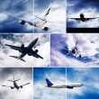 Collage of photos by airplanes at fly on the sky with clouds — ストック写真