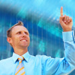 Happiness businessman on blur business architecture background — Stock Photo