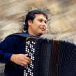 Male playing on the accordion against a grunge background — Lizenzfreies Foto