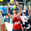 PRAGUE - JUNE 18: Brink &amp; Reckermann team compete at SWATCH FIVB - Stock Photo