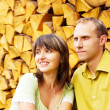 Young happy smiling attractive couple together outdoors — Stock Photo #6358363