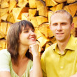 Young happy smiling attractive couple together outdoors — Stock Photo #6358368