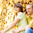 Young happy smiling attractive couple together outdoors — Stock Photo