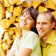 Young happy smiling attractive couple together outdoors — Stock Photo #6358373