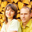 Young happy smiling attractive couple together outdoors - Stockfoto