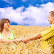 Happy on blue sky and green grass background — Stock Photo #6358377
