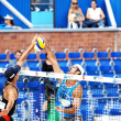 Stock Photo: PRAGUE - JUNE 19: Rogers & Dalhausser team compete at SWATCH FIV