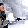 Young happy smiling blond girl outdoor in winter — Stock Photo