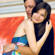 Two happiness love young on blur historical background — Foto Stock