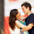 Two happiness love young on blur historical background — Stock fotografie