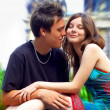 Two happiness love young on blur historical background — Stockfoto