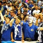 PRAGUE, CZECH REPUBLIC - APRIL 5: Iraklis team supporters watch — Stock Photo #6358760