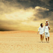 Happiness family fun in desert in sunny day — Stock Photo #6359034