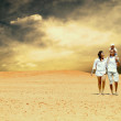 Happiness family fun in desert in sunny day — Stock Photo #6359043