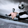 Stock Photo: Happiness football player on field of olimpic stadium on sunrise