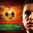 Football player and fire ball on the field — Stock Photo