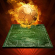Hot soccer ball on the speed in fires flame — Stock Photo