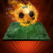 Hot soccer ball on the speed in fires flame — Stock Photo #6359110