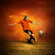 Football player on the outdoors field — Foto Stock