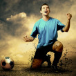 Shoot of football player on the outdoor field — Foto de Stock