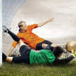 Shoot of football player and jump of goalkeeper on the field of - Stok fotoğraf