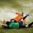 Foto Stock: Shoot of football player on outdoors field