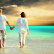 Rear view of a couple walking on the beach, holding hands. — Stock Photo