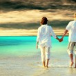 Foto Stock: Rear view of couple walking on beach, holding hands.