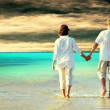 Rear view of couple walking on beach, holding hands. — 图库照片 #6359299