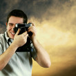 Royalty-Free Stock Photo: Happiness man with vintage photo camera