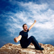 Man on the top of mountain. — Stock Photo