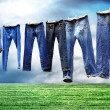 Jeans on a clothesline to dry — Stock fotografie
