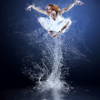 Dancers jump from water with splashes and drops — Stock Photo #6359543