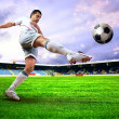 Happiness football player after goal on the field of stadium wit — Stockfoto